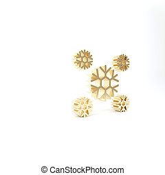 Gold Snow icon isolated on white background. 3d illustration 3D render