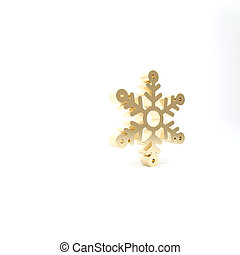 Gold Snowflake icon isolated on white background. 3d illustration 3D render