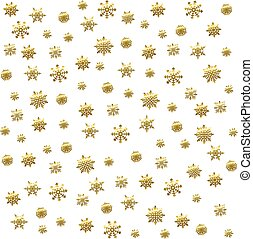 Gold snowflake seamless pattern. Vector illustration. Beautiful Christmas background.