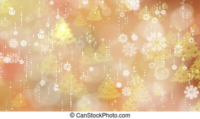 Gold Snowflakes and Christmas Tree Background