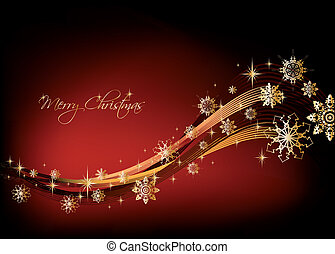 Gold snowflakes christmas Background. Vector