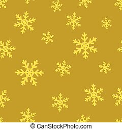 Gold snowflakes. Golden seamless background