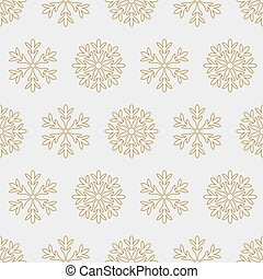 Gold snowflakes on a black background pattern seamless