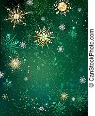 Gold snowflakes on a green background