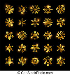 Gold snowflakes vector set isolated on black
