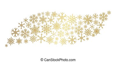 Gold snowflakes wave. golden snow flake new year stars. Yellow winter decoration