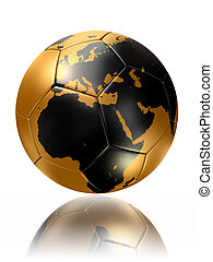 gold soccer ball globe world map europe africa