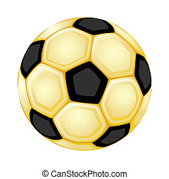 Golden soccer ball. Isolated over white background. Vector file saved as EPS 8, all elements grouped, layered, radial gradients used, no effects.