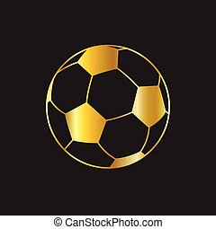 gold soccer ball on black background vector icon