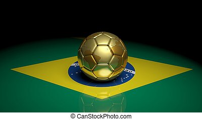 Gold soccer ball on Brazilian flag