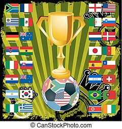 Gold soccer cup with all flags of groups. EPS 8