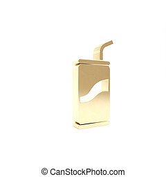 Gold Soda can with drinking straw icon isolated on white background. 3d illustration 3D render