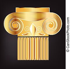 gold, spalte, gebäude