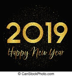 Gold sparkle Happy New Year background