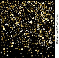 Gold sparkles on a black background. Gold background with sparkles. Gold background for card, vip, exclusive, certificate, gift, luxury, privilege, voucher, shop, gift, shopping