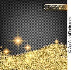 Gold sparkles on a transparent background. Gold background with sparkles
