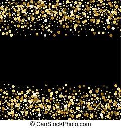 Gold sparkles on black background. Gold glitter background.