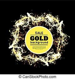 Gold sparkles on black background