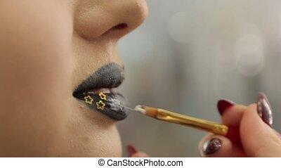 Gold Sparkles On Lips - Gold sparkles on lips female black...