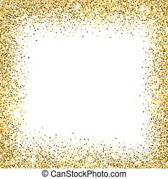 Gold glitter background. - Gold sparkles on white...