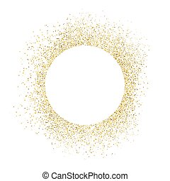 Gold sparkles on white background. White circle shape for...