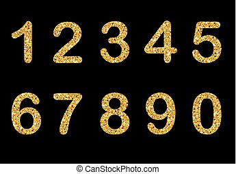 Gold sparkling numbers isolated