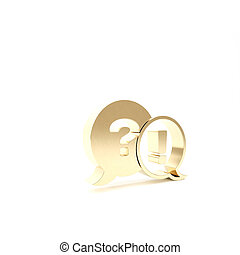 Gold Speech bubbles with Question and Exclamation icon isolated on white background. FAQ sign. Copy files, chat speech bubble and chart. 3d illustration 3D render