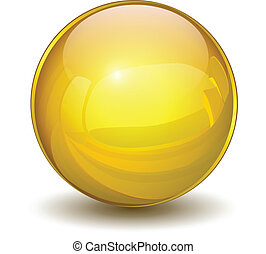 Glossy sphere 3D gold