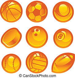 Gold Sport Ball Icons