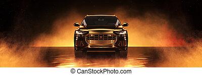 Gold sports car, studio setup on a golden background. 3d rendering