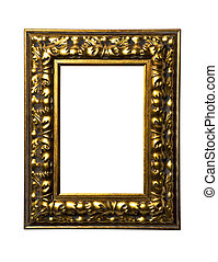 gold square art frame on white