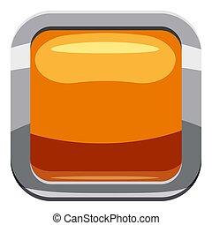 Gold square button icon, cartoon style