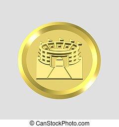 gold stadium icon - 3d gold stadium icon - computer...