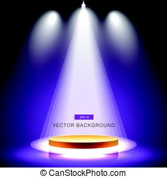 gold stage with spotlight purple background