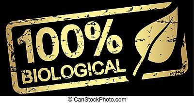 gold stamp 100% biological - gold grunge stamp with frame,...