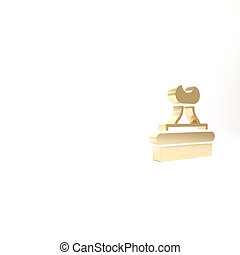 Gold Stamp icon isolated on white background. 3d illustration 3D render