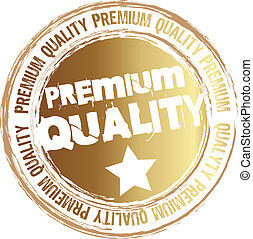gold stamp premium quality isolated over white background. vector