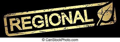 gold stamp REGIONAL - gold grunge stamp with frame, big leaf...