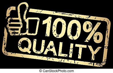 gold stamp with text 100% quality