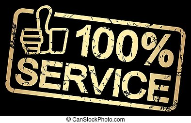gold stamp with text 100% Service