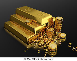 Gold standart - 3d render of gold ingots pyramid on black...