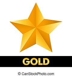 Gold star 3d shiny metal isolated on white background.