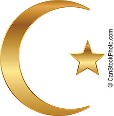 gold star and crescent - Vector illustration of gold star...