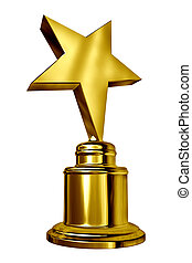 Gold Star Award on a blank metal trophy isolated on white representing a golden first place prize as an icon of success and acheivement of a sports or entertainment acheivement.