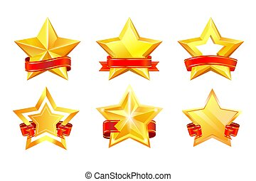 Gold star award with red ribbon set isolated on white