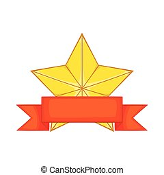 Gold star award with ribbon icon, cartoon style