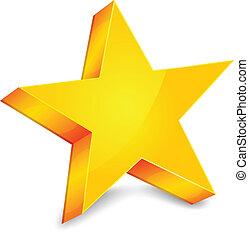 Big gold star on white background, vector illustration