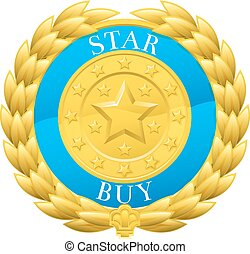 Gold Star Buy Winner Laurel Wreath Medal