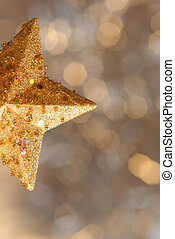 gold star Christmas with copyspace