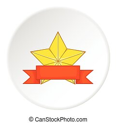 Gold star cup icon, cartoon style